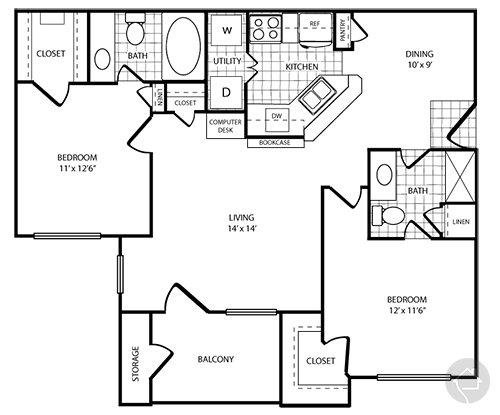 2/2 1020 sqft floor plan