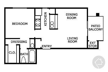 1/1 565 sqft floor plan