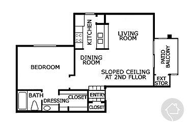 1/1 687 sqft floor plan