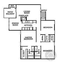 3/2 1298 sqft floor plan