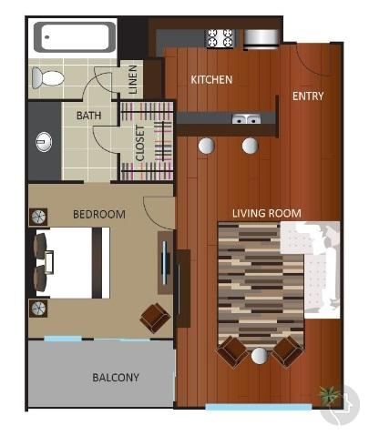 1/1 620 sqft floor plan