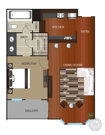 1/1 720 sqft floor plan
