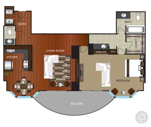 1/1.5 1043 sqft floor plan