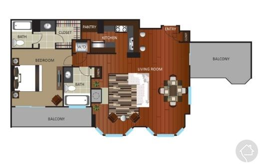 1/1 1097 sqft floor plan