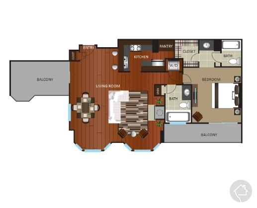 1/1 1115 sqft floor plan