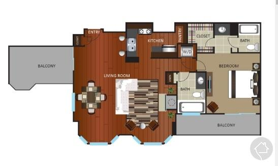 1/1 1117 sqft floor plan