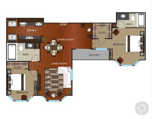 2/2 1040 sqft floor plan