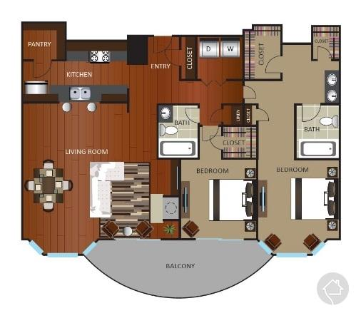 2/2 1489 sqft floor plan