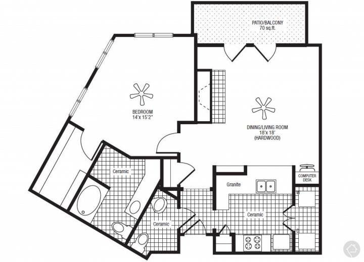 1/1.5 957 sqft floor plan