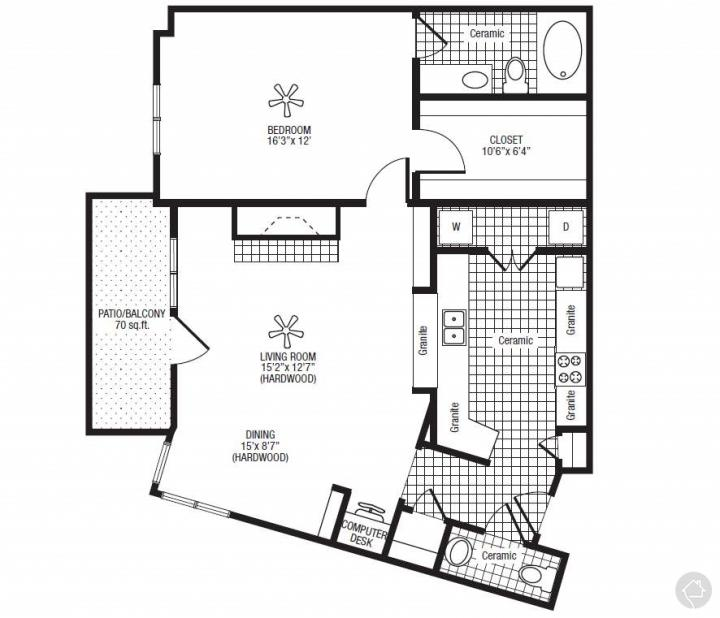 1/1.5 1047 sqft floor plan