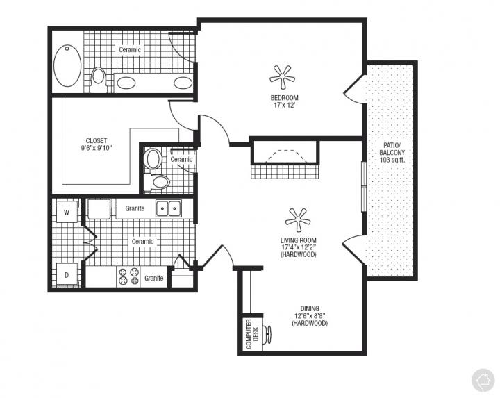 1/1.5 1080 sqft floor plan