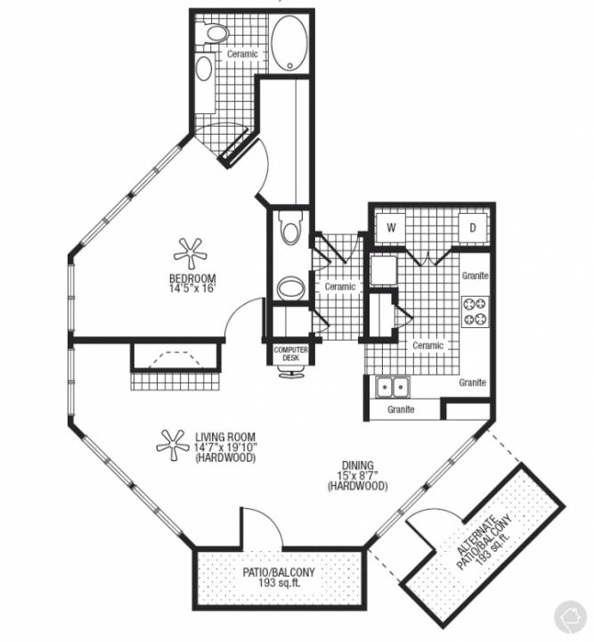 1/1.5 1100 sqft floor plan