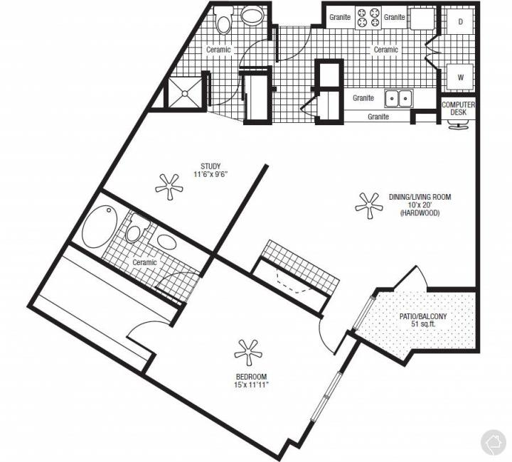 1/2 1170 sqft floor plan