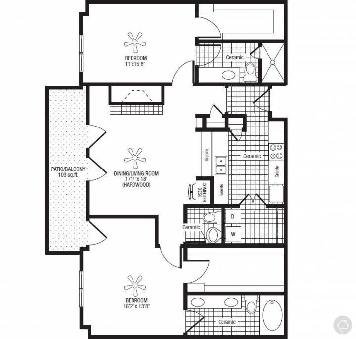 2/2.5 1372 sqft floor plan