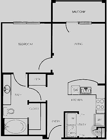 1/1 675 sqft floor plan