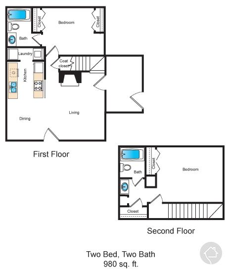 2/2 980 sqft floor plan