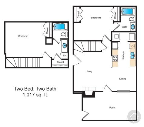 2/2 1017 sqft floor plan