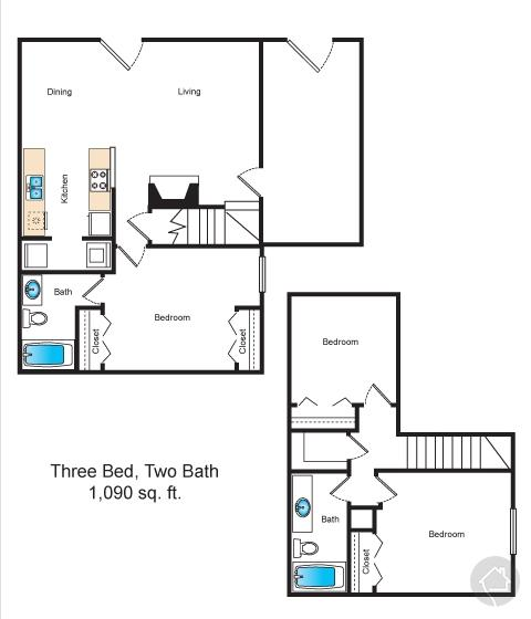 3/2 1155 sqft floor plan