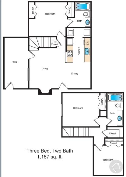 3/2 1167 sqft floor plan