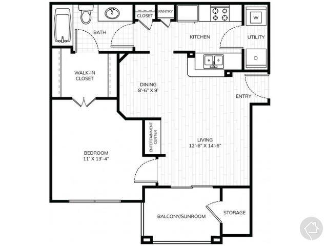 0/1 621 sqft floor plan