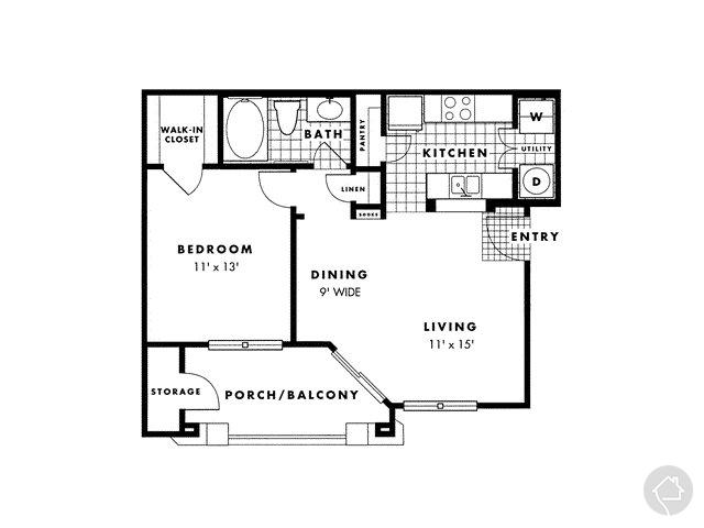 1/1 641 sqft floor plan
