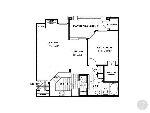 1/1 803 sqft floor plan