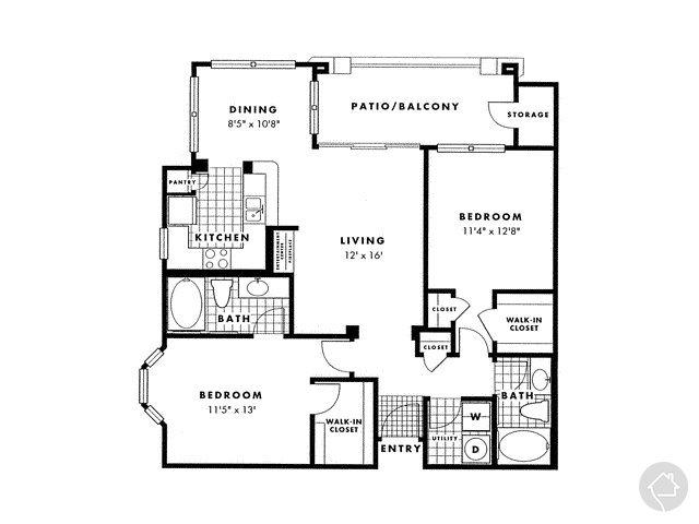 2/2 1108 sqft floor plan