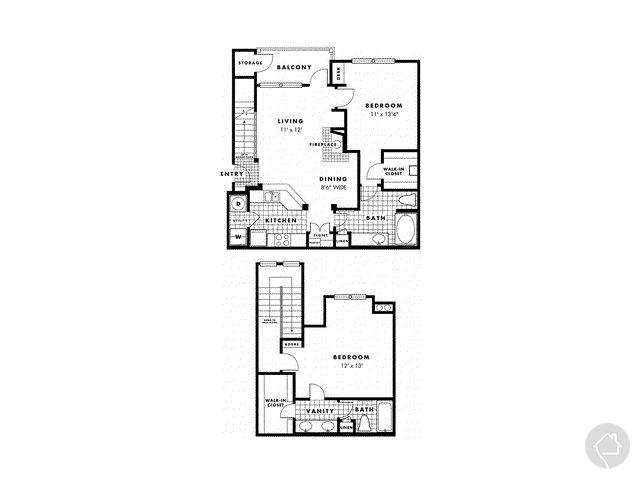 2/2 1247 sqft floor plan