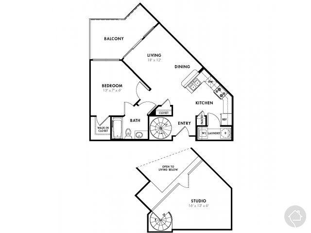 1/1 846 sqft floor plan