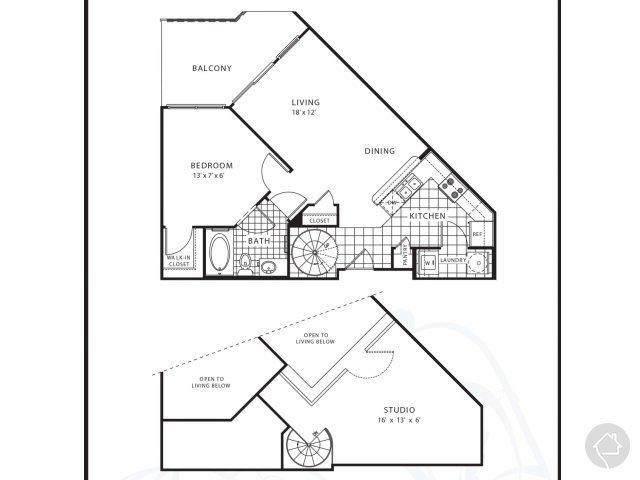 1/1 895 sqft floor plan