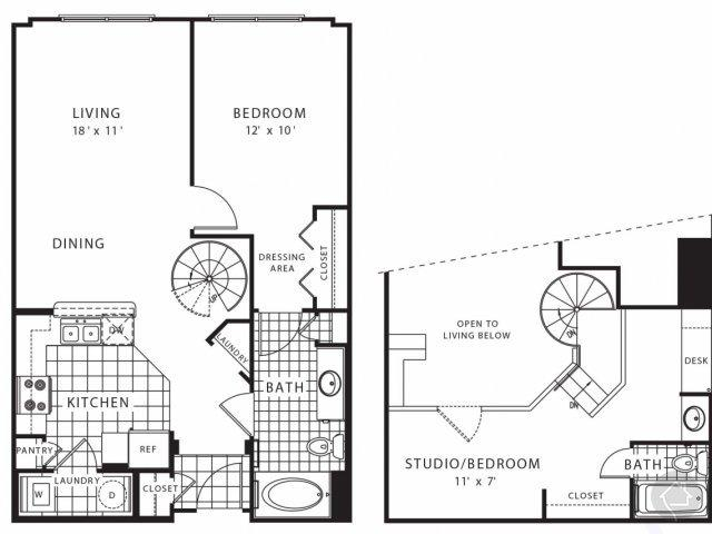 2/2 996 sqft floor plan