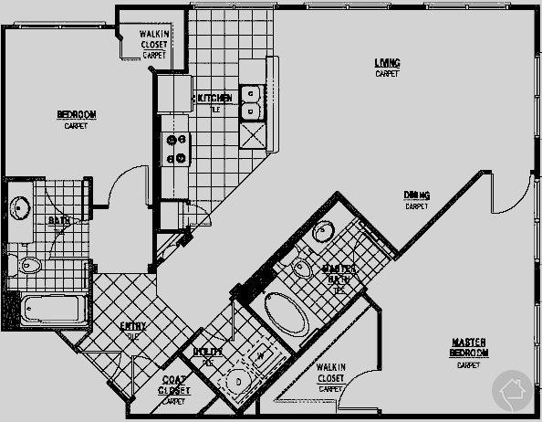 2/2 1114 sqft floor plan
