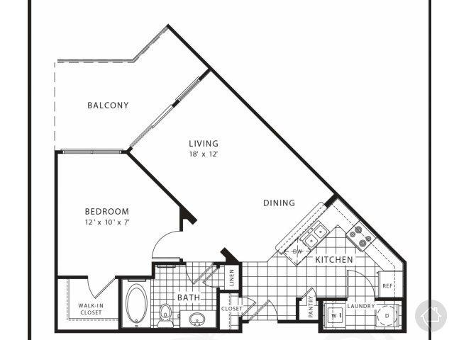 1/1 674 sqft floor plan