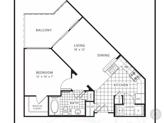 1/1 650 sqft floor plan
