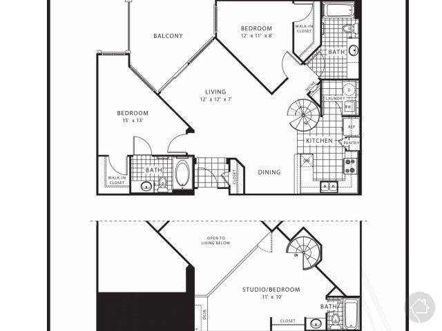 3/3 1391 sqft floor plan