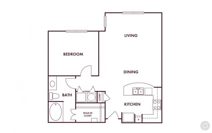 1/1 795 sqft floor plan