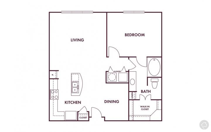 1/1 865 sqft floor plan