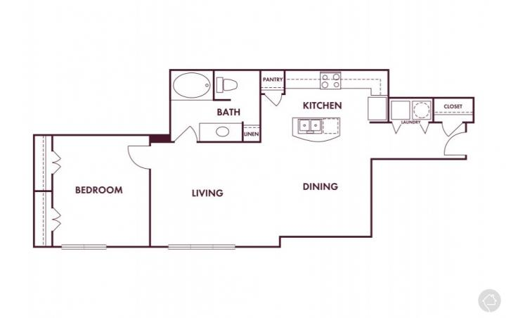 1/1 900 sqft floor plan
