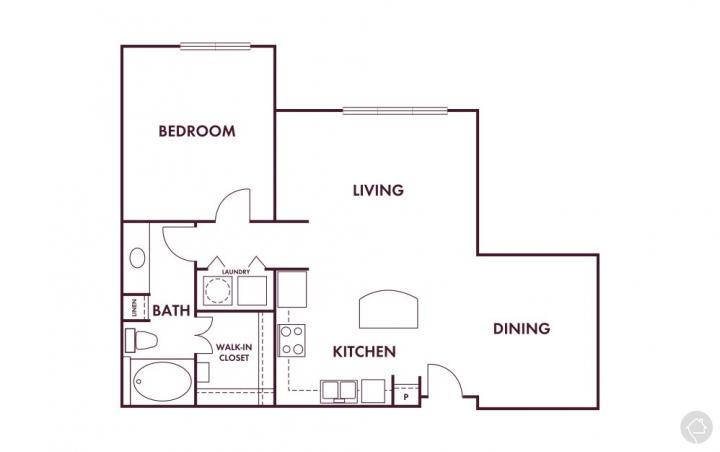 1/1 920 sqft floor plan