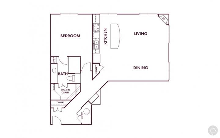 1/1 1055 sqft floor plan