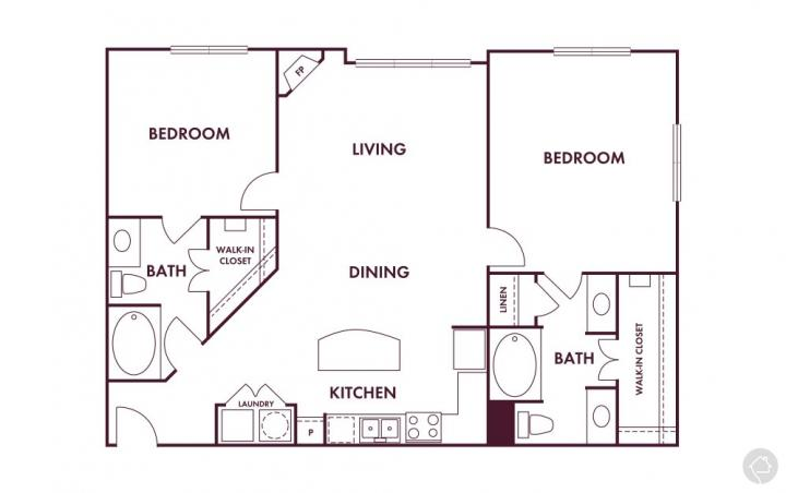 2/2 1200 sqft floor plan