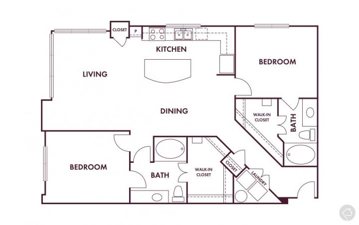 2/2 1260 sqft floor plan
