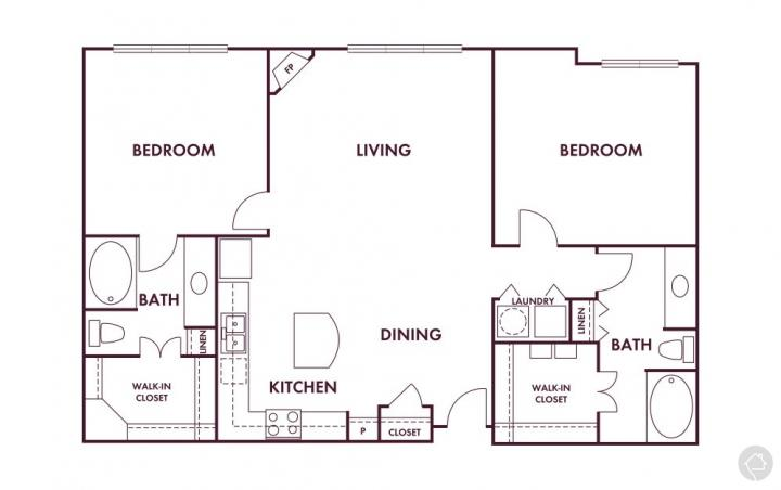2/2 1305 sqft floor plan