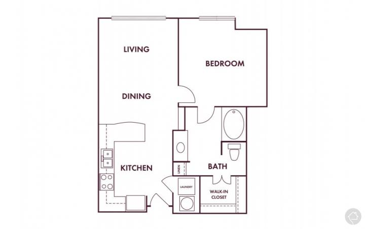 1/1 630 sqft floor plan