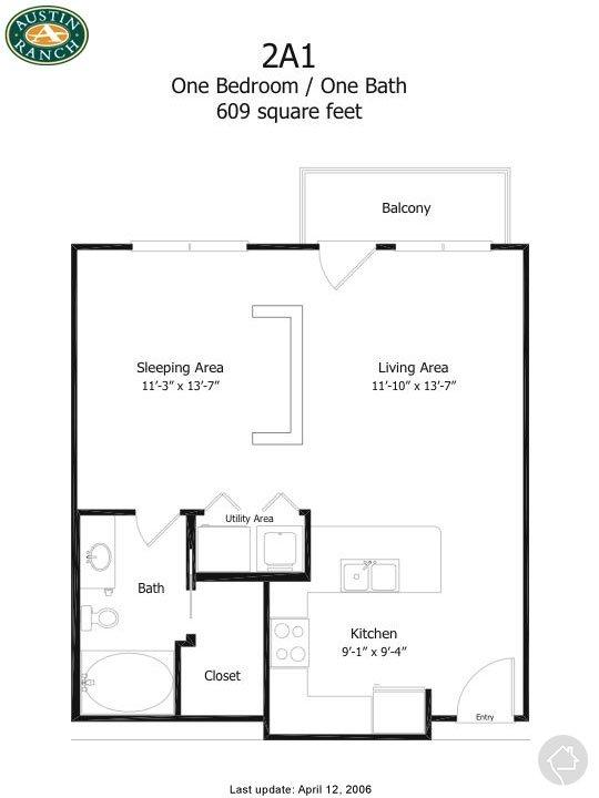 1/1 552 sqft floor plan