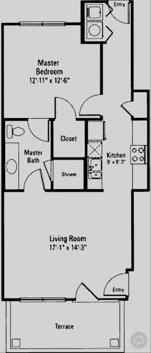 1/1 707 sqft floor plan
