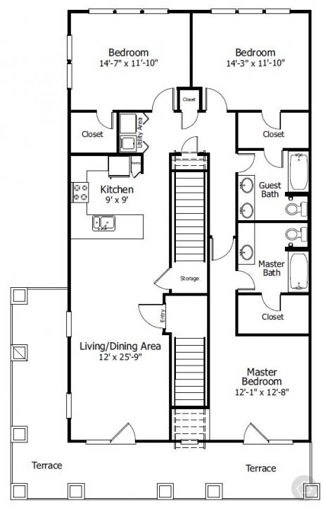 3/2 1453 sqft floor plan