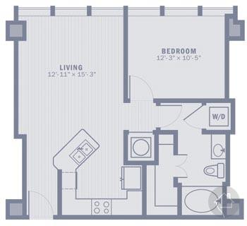 1/1 678 sqft floor plan