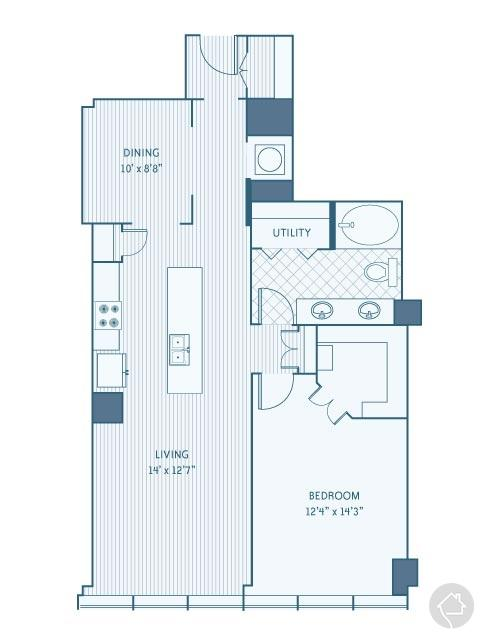 1/1 1051 sqft floor plan