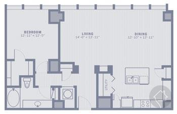1/1 1074 sqft floor plan